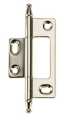 BH3A NM PN Steeple Tip Non Mortising Cabinet Hinge In Polished Nickel