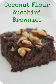 brownie, dark chocolate, zucchini, coconut flour, walnuts.   Wonder if these will be like my mom's zucchini cake? @Liz Mester Mester Mace