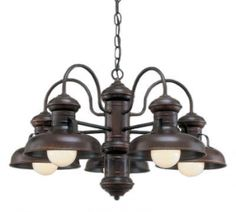 Sequioawood 5 Lamp Chandelier, 77-Rosewood, Chain Hung