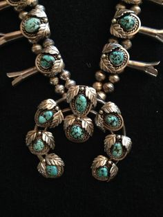 Vintage LONE Mountain Turquoise Nugget Squash Blossom Necklace *VERY RARE*