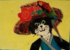 A cat in a fancy hat.
