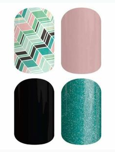 Top Right-Daydream/Pixie Bottom Right-Fountain of Youth Bottom Left-Darkest Black Top Left-Gelato www.caitshafer.jamberrynails.net