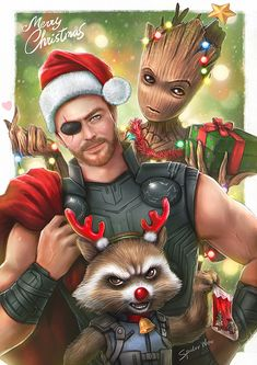 Merry Christmas from Thor, Rocket & Groot - Taweesak Riwsuksan Avengers Art, Avengers Comics, Marvel Art, Marvel Avengers, Marvel Heroes, Christmas Comics, Merry Christmas, Disney Christmas, Xmas