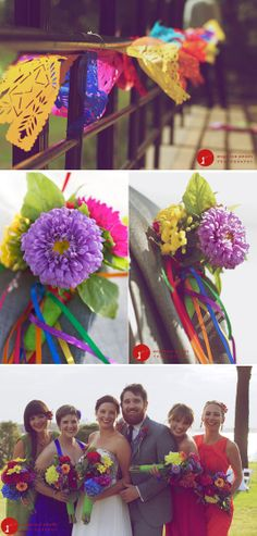 Festive wedding. Love the colorful boutonnieres and the bouquets that coordinate with all the dress colors.