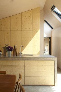 Concrete and wooden combo kitchen with ply finish low fi version of finishes Granja Starfall / Invisible Studio