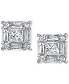 Diamond Square Cluster Stud Earrings (3/4 ct t.w.) in 14k White Gold | macys.com