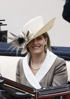 The Countess of Wessex in a lovely hat... and bathrobe.