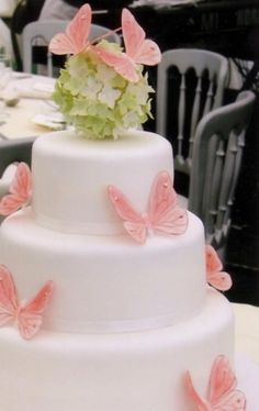 Wedding Cake with butterflies and hydrangea