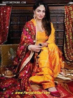 Neeru Bajwa Mango Yellow color Raw Silk Punjabi Salwar Kameez With Phulkari Dupatta at Zikimo 1 Patiala Suit Designs, Patiala Salwar Suits, Churidar, Anarkali, Phulkari Suit Punjabi, Lehenga, Indian Suits, Indian Attire, Indian Dresses