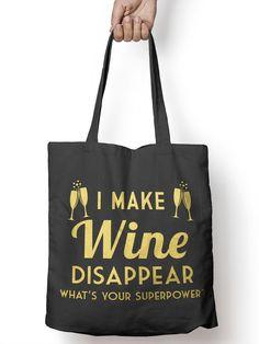 Make Wine Disappear Funny Tote Bag.  Order yours at Boardman Printing, www.facebook.com/boardmanprinting.com