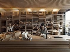 D. Chirico Bakery by March Studio- The interior design of this Melbourne-based bakery by Australian practice March Studio is inspired by key geometries and woven wicker basket.  Architect Rodney Eggleston aims create a giant basket in the shop by covering the rear wall and the ceiling with wooden slats.
