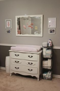 Baby Girl Nursery mobile over the changing table