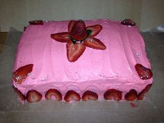 Strawberry cake with strawberry icing! Don't forget the edible glitter! March 2012 Bake a Wish!