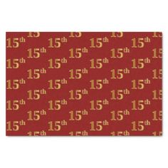 Red Faux Gold 15th (Fifteenth) Event Tissue Paper - paper gifts presents gift idea customize