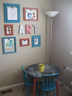 Such a cute idea! Hang empty frames on the wall to fill with your kid's art work! When I have kids, I'm totally doing this.
