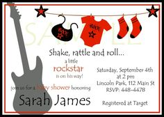 Rockstar Baby Shower Boy Invitations Red Black and by lisamt2001
