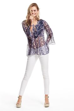Embroidered and printed silk blouse
