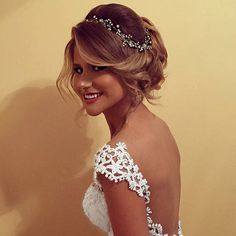 Our beautiful bride Ervisa looking so romantic in her loose up-do and crystal hair vine!