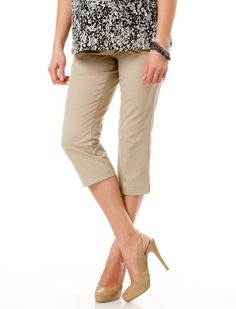 Motherhood Maternity: Secret Fit Belly(tm) Twill Front Slash Pockets Maternity Crop Pants $24.98