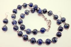 Blue Jean Lapis Lazuli and Silver Necklace and Earring Set | Designed By Audrey - Jewelry on ArtFire