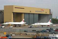 Concorde's outside their hanger on the old Bath Rd. I used to pass this place most days, never without an admiring look.