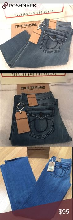 NWT TRUE RELIGION BECCA JEANS SZ 28 BLUE mid rise Brand new super cute BECCA TRUE RELIGION JEANS.  They are darker blue but they use earths mystery as color. I somehow placed a double order and never return them but I wore mine often and they fit great!  They are super comfortable!  They are size 28 mid rise True Religion Jeans Boot Cut