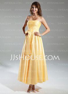 Bridesmaid Dresses - $126.29 - A-Line/Princess Strapless Ankle-Length Taffeta Bridesmaid Dress With Ruffle (022015371) http://jjshouse.com/A-Line-Princess-Strapless-Ankle-Length-Taffeta-Bridesmaid-Dress-With-Ruffle-022015371-g15371