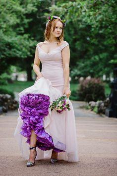 Sleek blush wedding dress with bright purple petticoat Petticoat For Wedding Dress, Ombre Wedding Dress, White Lace Wedding Dress, Purple Wedding, Spring Wedding, Dream Wedding, Wedding Dresses Photos, Wedding Dress Styles, Bridal Gowns