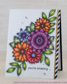 My Favorite Things Funky Flowers Stamp Set, Copic, Simon Says Stamp Diagonal Stripe Background Stamp, Pretty Pink Posh Sparkling Clear Sequins Flower Stamp, Flower Cards, Handmade Card Making, Handmade Cards, Mandala Art Lesson, Pretty Pink Posh, Flower Sketches, Pink Envelopes, Mft Stamps