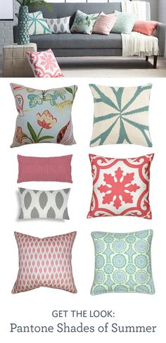 Add a splash of color to your room with shades of aqua and coral. Pick from decorative and throw pillows in several patterns, designs, and Pantone-inspired hues. - Model Home Interior Design Living Room Inspiration, Color Inspiration, Home Living Room, Living Room Decor, My New Room, Room Colors, Layout Design, Decorative Pillows, Family Room