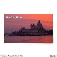 Sunset in Venice Rectangular Sticker