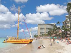 There's more room for sunbathing and building sandcastles on a stretch of Waikiki Beach. Waikiki Beach, Hawaii Vacation, Beach Look, Sailing Ships, San Francisco Skyline, New Zealand, Boat, Australia, Sunset