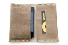 Iphone case (4 or 5). Artisan Iphone leather wallet. Hand stitched iphone leather case. Pull up leather taupe color. Perfect gift. IPH009