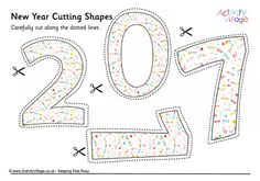 Scissors Skills - New Year cutting shapes 2017 Colouring Pages, Kids Colouring, Welcome New Year, Daycare Themes, Scissor Skills, Felt Patterns, Homeschool, Curriculum, Business For Kids
