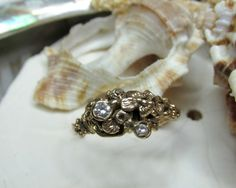 14k Diamond Freeform Floral Ring 3.85 grams Size 9 - pinned by pin4etsy.com