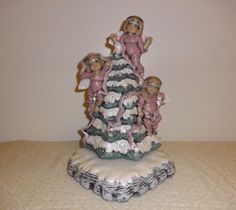 Hand Painted Ceramic Snow Capped Christmas Tree with 3 Angels and Ribbons