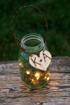Upcycled Personalized Glass Jar Wedding Decoration Candles Firefly Lightning Bug Lanterns by francine Fall Wedding, Rustic Wedding, Our Wedding, Dream Wedding, Wedding Reception, Firefly Wedding, Wedding Table, Wedding Stuff, Cottage Wedding