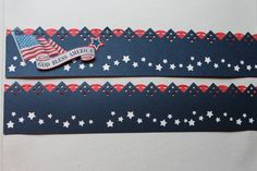 Patriotic stickers, deep blue, red, and white. Starstruck maker on the blue.