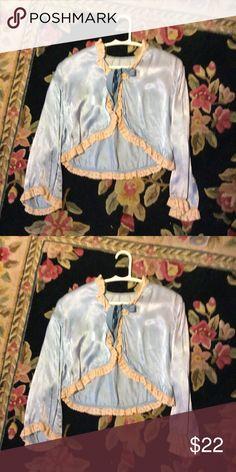 Blue satin vintage bed jacket Sweet blue satin bed jacket with vintage lace trim blue bow closure Vintage Intimates & Sleepwear