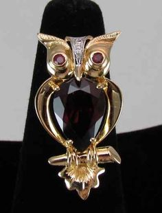 14K Gold Owl Brooch With Garnet, Rubies and Diamonds