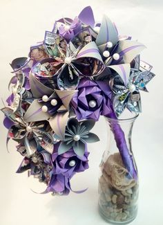 Comic Book Cascading Bouquet- Paper Bouquet one of a kind origami Bridal bouquet kusudama paper roses & lilies your color scheme gift Origami Bouquet, Paper Bouquet, Lily Bouquet, Cascade Bouquet, Origami Design, Origami Art, Book Flowers, Fabric Flowers, Origami Wedding