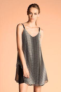 Black Cream Flowy Aline Dress