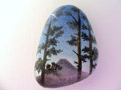 Mount Fuji, Japan Sunrise - tiny painting on sea glass