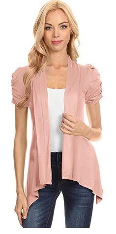 cd0986764e6df8  17.99 Womens Open Front Cardigan Ruched Short Sleeve Asymmetric Hem Flyaway  Cardigan - USA at Amazon Women s Clothing store