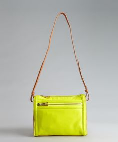 Kelsi Dagger neon yellow and tan leather Rebecca zip crossbody bag | BLUEFLY up to 70% off designer brands