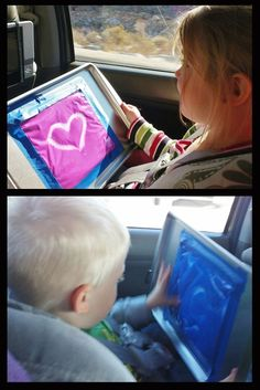 "Our long drive to San Diego was a bearable thanks to ideas found on Pinterest. My kids ""finger painted"", played with playdough on the cookie sheets, and did a ton of other fun things in the car to make the time fly!"