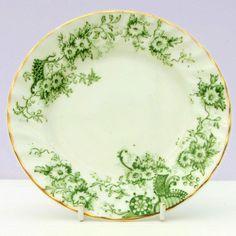 Vintage Antique Bone China Green Tea Plate