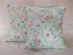 "2 x DUCK EGG BLUE PINK GREEN SHABBY CHIC CUSHION COVERS 16"": Amazon.co.uk: Kitchen & Home"