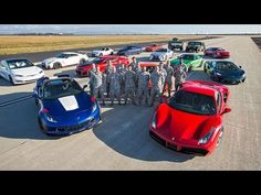 A bunch of supercars gather for a drag race, Tesla destroys them all