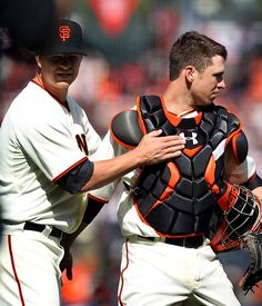 Game 7/162, 4/13/2012; Catcher Buster Posey gives a congrats to Cain for his 1 hit shut out after the game.